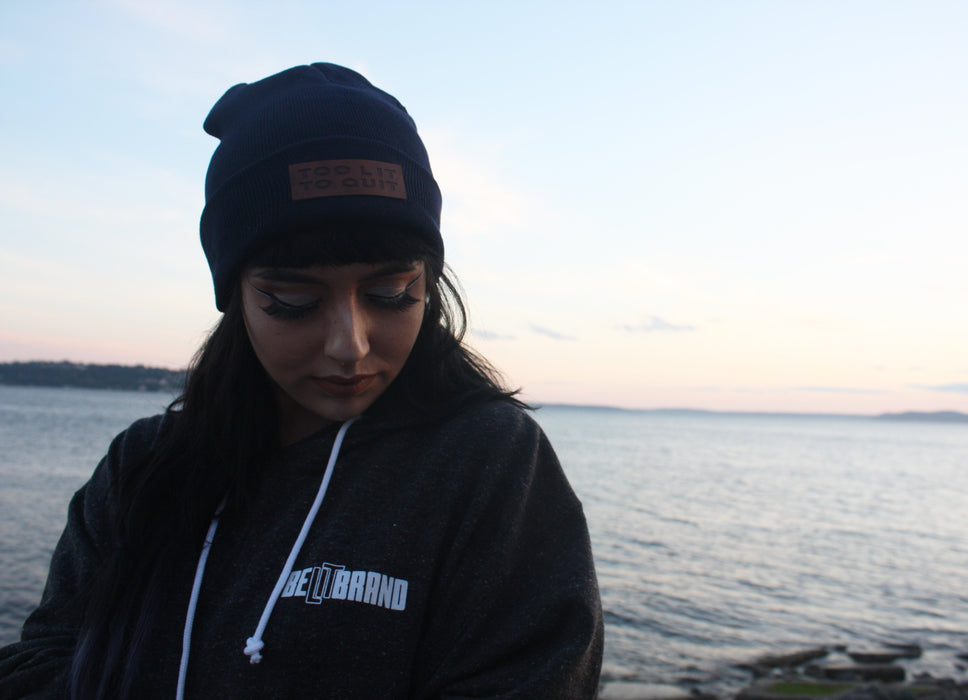 "Be Lit Beanie in Ocean Blue, ""Too Lit To Quit"" Leather Patchbelitbrandbelitbrand"