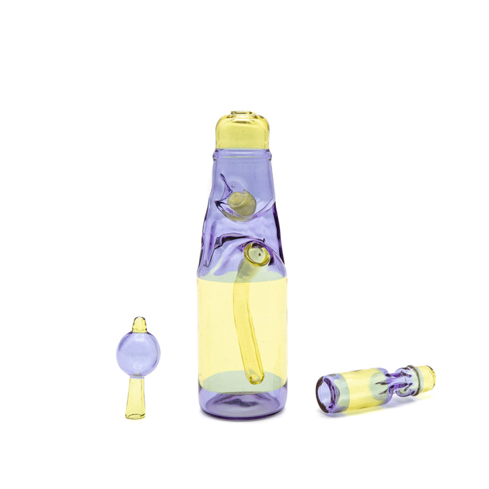 Jack Blew Glass- Serum/Gemini ramune bottle with chillum and bubble cap