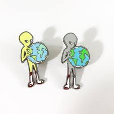 Other World Alien Holding Earth Dab Pin