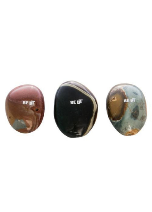 Be Lit Brand - Solid Stone Pipe, Natural Round Jasper