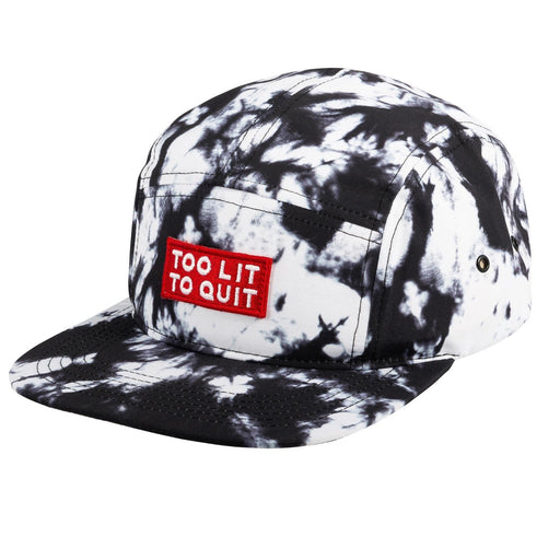"5-Panel Hat, ""Be Lit Brand"" In Acid Wash, ""Too Lit To Quit"" Patch"