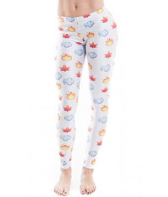 MMJCO Emoji Leaf Print Leggings