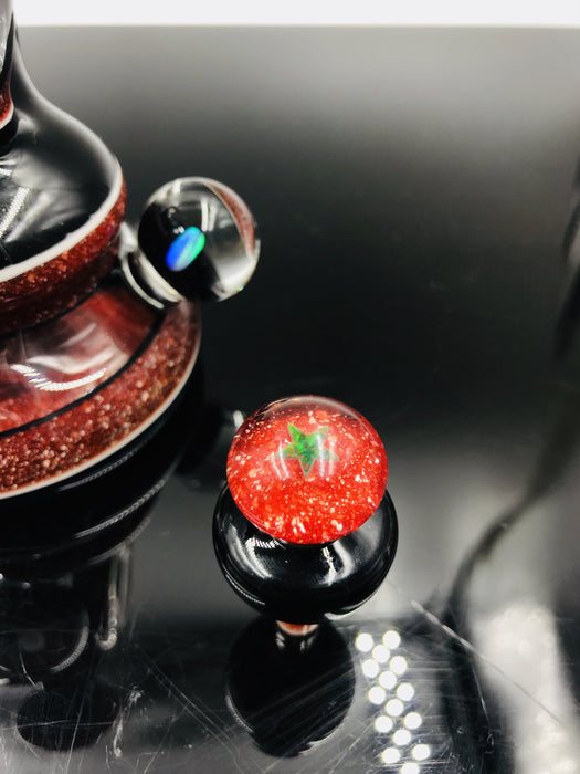 Hydro Thunder Opal-and-Red Donut Hole Mini Dab Rig Set with Matching Q-tip Jar/ISO Bubble Cap