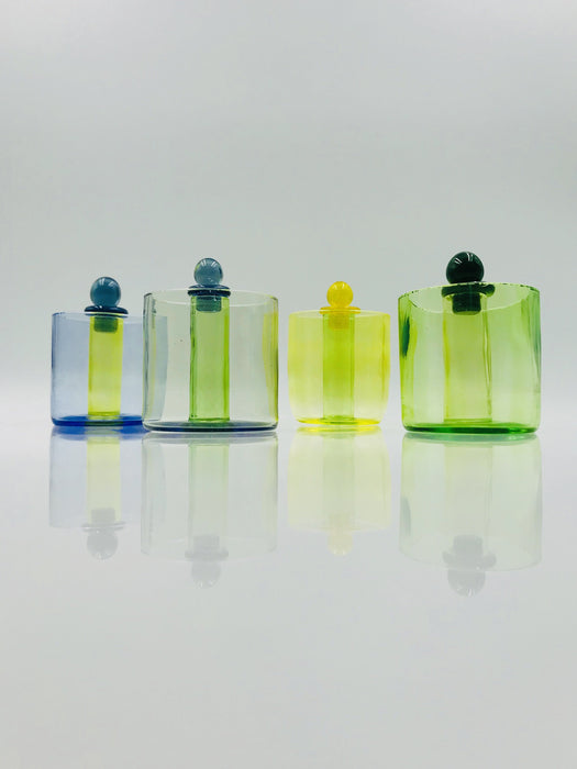 Organik Glass Iso Jar/Q-Tip Holder - Assorted Colors