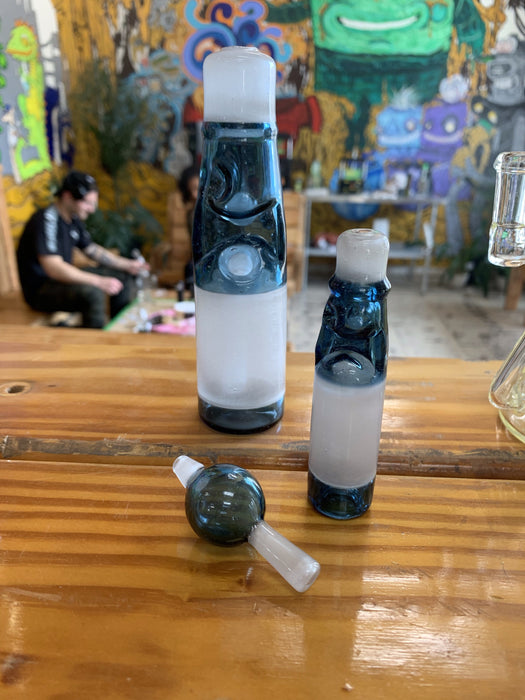 Jack Blew Glass- Blue Stardust/white satin Mini Ramune bottle with chillum and bubble cap