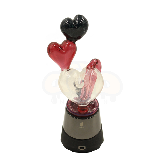 Red Hearts Recyclable Puffco Peak Glass Attachment from Reyna Glass, VAPORIZER ACCESSORIES & PARTS by Reyna Glass available on Dab Nation