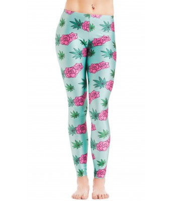 MMJCO Rose Leaf Print Leggings