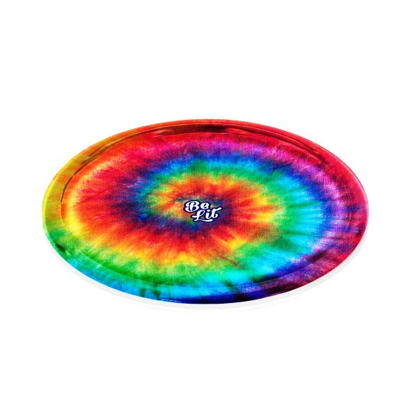 Be Lit Round Rolling Tray, Tie Dye