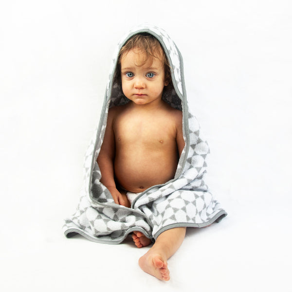 Troupe Baby Hooded Towels - Grey Honeycomb