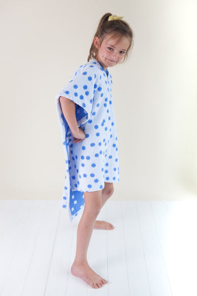 Kids Poncho - Large Blue Dot