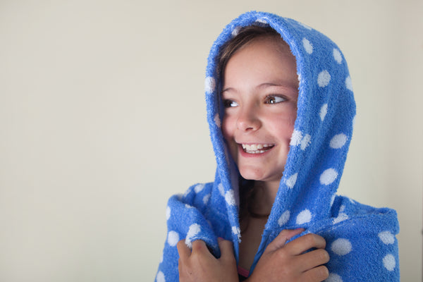Kids Poncho - Large White Dot
