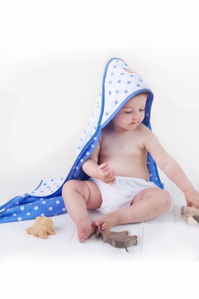 Troupe Baby Hooded Towels - Blue Dot