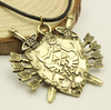 The Legend Of Zelda Triforce Vintage Shield Rope Leather Necklace