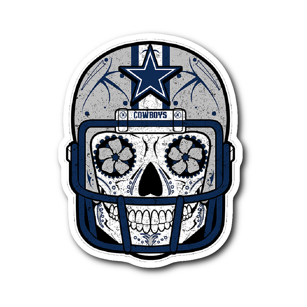 Custom cowboys sugar skull stickers pocket lint and other things