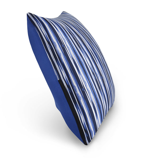 "16"" M Cushion Abstract Blue Stripes Side"