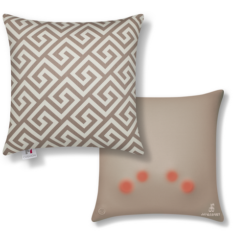 "18"" M Cushion Premium Plus Greek Key Taupe With Bonus Matching Poly Fill Decor Pillow"