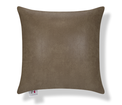 "18"" M Cushion Faux Leather Brown Cover front"