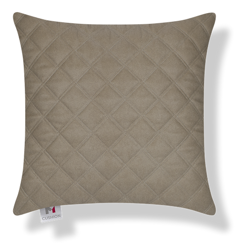 18 x 18 Inch Quilted Faux Leather Beige cover.