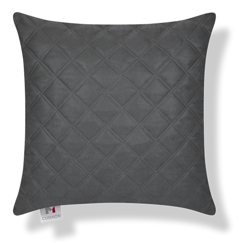 18 x 18 Inch Quilted Faux Leather cover.