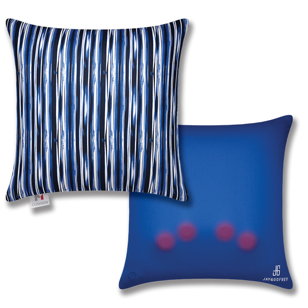 Blue Striped Massage Cushion Cover, M Cushion front and back