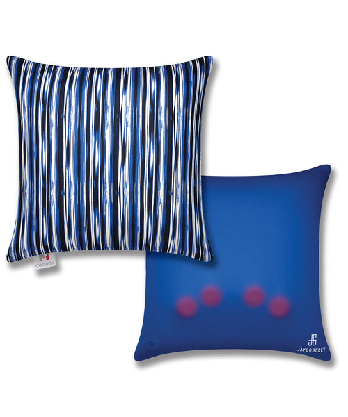"16"" M Cushion Abstract Blue Stripes Front & Back"