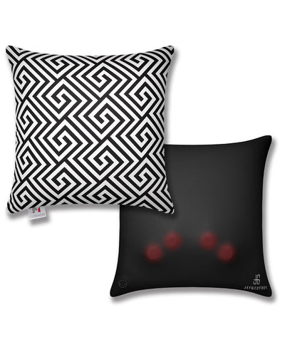 "16"" M Cushion Black & White Greek Key Front & Back"