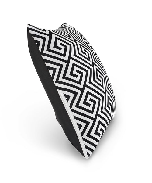 "16"" M Cushion Black & White Greek Key Side View"
