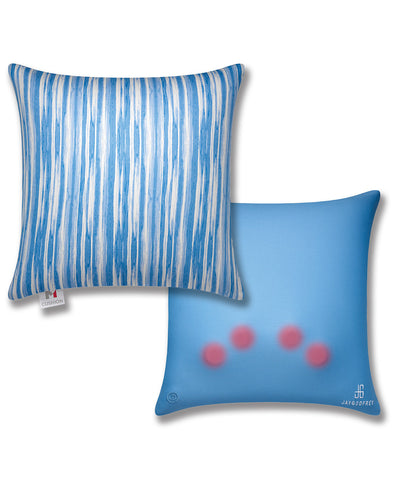 "16"" M Cushion Pale Blue Stripes Front & Back"