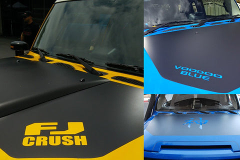4. Amaesing FJ Hood Decal Matte Black - Custom Logo Cut Out