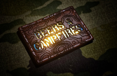 Beers & Campfires Topo Leather Laser Cut Patch