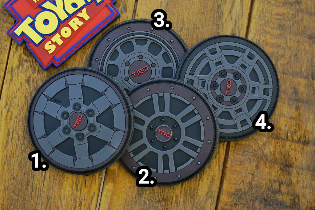 "TRD Classic Black Wheels 3.5"" PVC Velcro Patch"