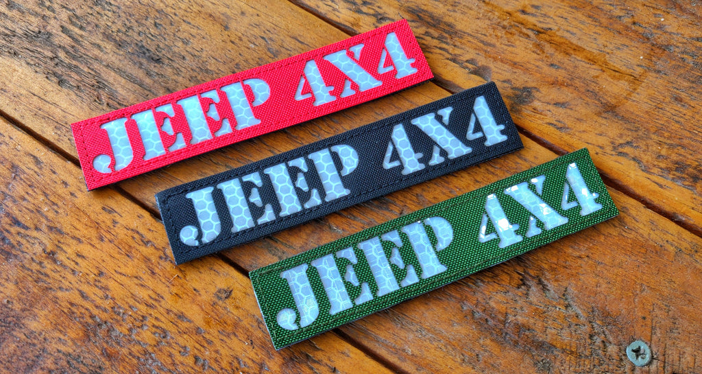 "Jeep 4x4 Laser Cut 5"" Reflective Velcro Patch"