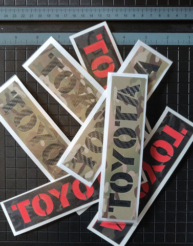 Toyota Stencil MultiCam® Vinyl Cut 2 Color Stickers 7.5""