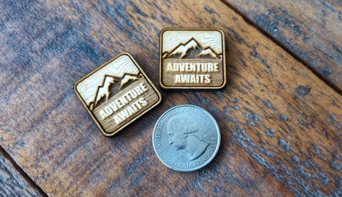 "Adventure Awaits 1"" Velcro Wood Cut Ranger Eyes"