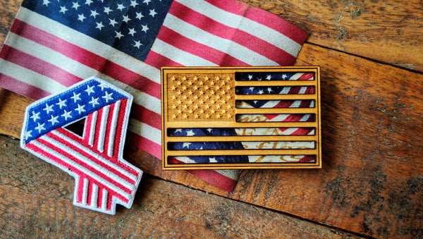 American Flag Wood Laser Cut Fabric Patch