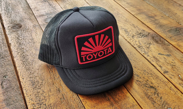 Black Yota Rising Sun Mesh Snap Back Patch Hat