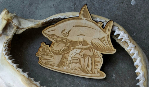 Great White Shark Week Laser Wood Cut Patch