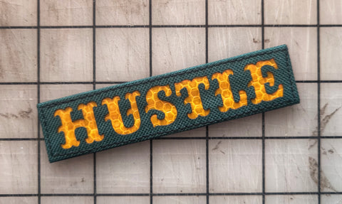 "Hustle Laser Cut Reflective Velcro 4.5"" Patch"