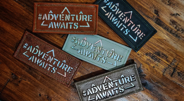 "#ADVENTUREAWAITS 4"" Leather Laser Cut Velcro Patch"