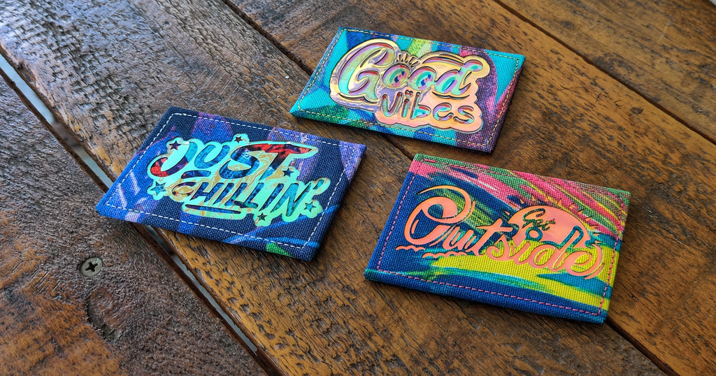 Hyper Color Holographic/Glow Slant Laser Cut Patches