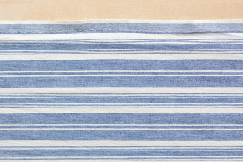 4.5 Oz Blue and Cream Striped Vintage Shirting (1/2 yard)