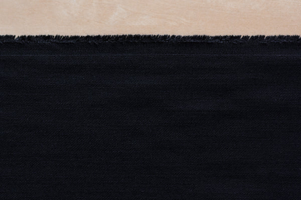9.5oz USA-Made Stretch Denim in True Black (1.3 yard Remnant)