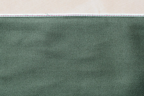8.5 Oz Selvage Twill in Olive Green (1/2 yard)