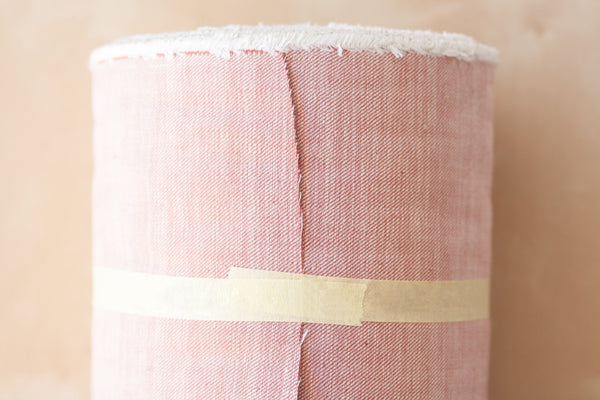 9 oz Cone Mills Denim in Salmon Red (1/2 yard)