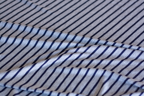 Rayon Spandex Jersey Knit - Gray with Navy Stripes (1/2 yard)