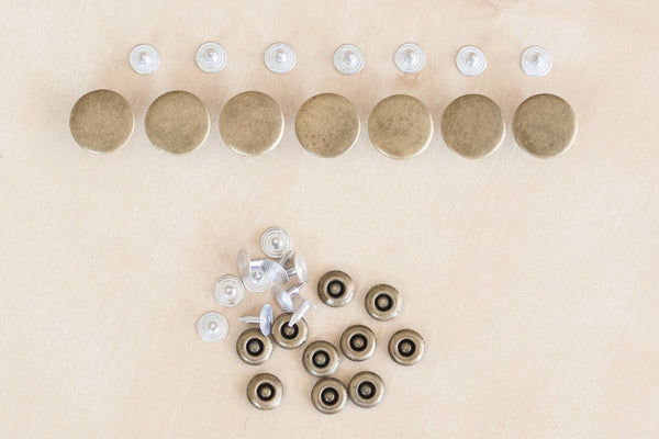 Button Fly Denim Hardware Kit in Antique Brass