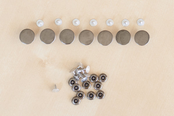 Button Fly Denim Hardware Kit in Gun Metal
