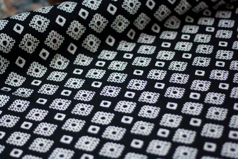 Rayon Challis - Black with White Geometric Print (½ yard)