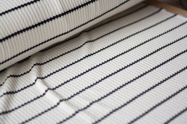 Thermal Sweater Knit - White with Black Stripes (½ yard)