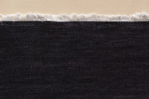12 oz Cone Mills Loomstate Denim in Black (1/2 yard)